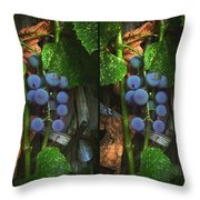 Grapes On The Vine - Gently Cross Your Eyes And Focus On The Middle Image Throw Pillow