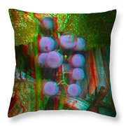 Grapes On The Vine - Use Red-cyan Filtered 3d Glasses Throw Pillow