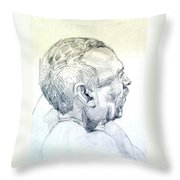 Graphite Portrait Sketch Of A Man In Profile Throw Pillow