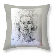 Graphite Portrait Sketch Of A Well Known Cross Eyed Model Throw Pillow