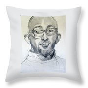 Graphite Portrait Sketch Of A Young Man With Glasses Throw Pillow