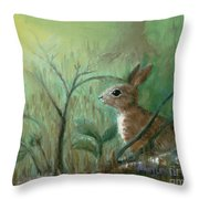 Grass Rabbit Throw Pillow