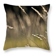 Grasses Blowing Throw Pillow