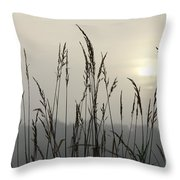 Grasses In Iceblue Landscape Throw Pillow
