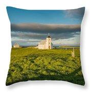 Grasslands And Flatey Church, Flatey Throw Pillow