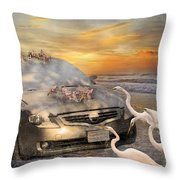 Grateful Friends Curious Egrets Throw Pillow by Betsy Knapp
