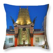 Grauman's Chinese Theater Night Lights  Throw Pillow