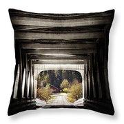 Grave Creek Covered Bridge Throw Pillow