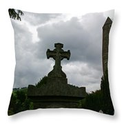 Grave Cross And The Round Tower Throw Pillow