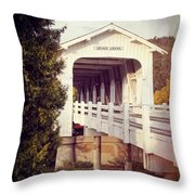 Grave Creek Covered Bridge Throw Pillow