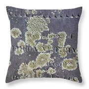 Gravestone With Lichen Throw Pillow