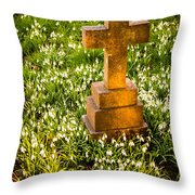 Gravestone With Snowdrops Throw Pillow