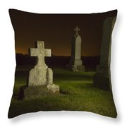 Gravestones At Night Painted With Light Throw Pillow