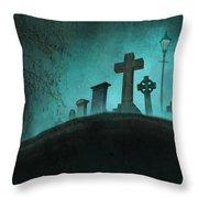 Graveyard At Night Throw Pillow