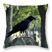 Graveyard Bird On Top Of A Tombstone Throw Pillow