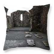 Graveyard In Church Ruin - Ireland Throw Pillow