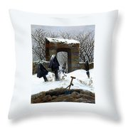 Graveyard Under Snow Throw Pillow