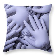 Gray Hands Throw Pillow