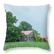 Gray Sky - Red Roofed Barn - Green Fields Throw Pillow
