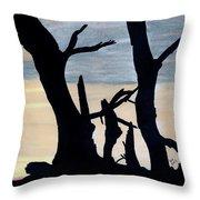 Gray Sunset Throw Pillow