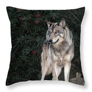 Gray Wolf Endangered Species Wildlife Rescue Throw Pillow