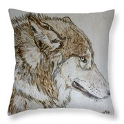 Gray Wolf Pyrographic Wood Burn Original 5.75 X 5.75 Inch Art Panel Throw Pillow
