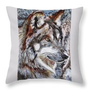 Gray Wolf Watches And Waits Throw Pillow by J McCombie