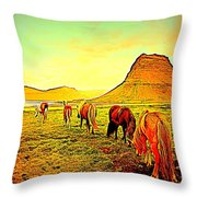 Happy To Be Grazing Again Throw Pillow