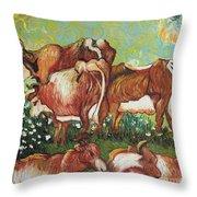 Grazing Cows Throw Pillow