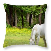 Grazing In Golden Fields Throw Pillow