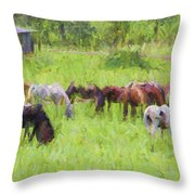 Grazing Trail Horses Throw Pillow