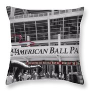 Great American Ball Park And The Cincinnati Reds Throw Pillow