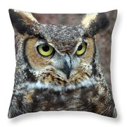 Great And Horned Throw Pillow by Skip Willits