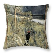 Great Black Woodpecker Throw Pillow