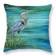 Great Blue Heron-2a Throw Pillow