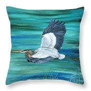Great Blue Heron-3a Throw Pillow