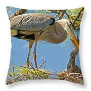 Great Blue Heron Adult Feeding Nestling Throw Pillow