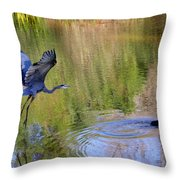 Great Blue Heron And Coot Throw Pillow