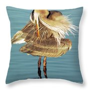 Great Blue Heron Ardea Herodias Preening Throw Pillow
