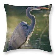 Great Blue Heron At Sunset  Throw Pillow