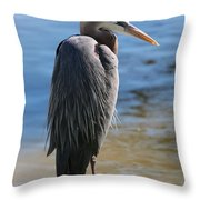 Great Blue Heron By Pond Throw Pillow