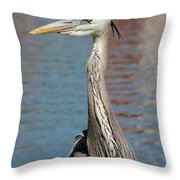 Great Blue Heron By The Water Throw Pillow