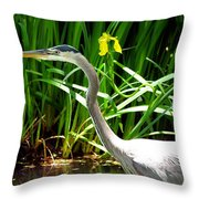 Great Blue Heron By Yellow Flower Throw Pillow