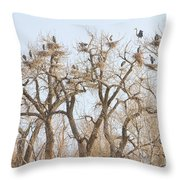 Great Blue Heron Colony Throw Pillow