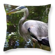 Great Blue Heron - Colorful Reflections Throw Pillow