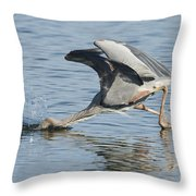 Great Blue Heron Fishing Throw Pillow