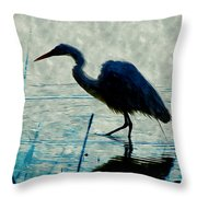 Great Blue Heron Fishing In The Low Lake Waters Throw Pillow