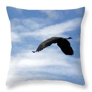 Great Blue Heron Flying Past The Clouds Above Trojan Pond 2 Throw Pillow
