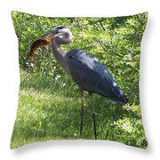 Great Blue Heron Grabs A Meal Throw Pillow
