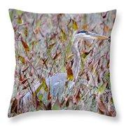 Great Blue Heron In Fall Marsh Throw Pillow